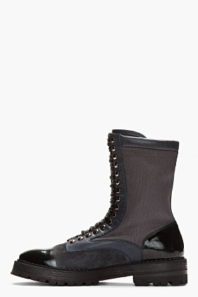 McQ Black textile and leather wet-look combat boots