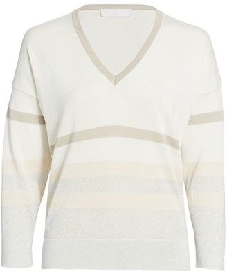 Fabiana Filippi V-Neck Metallic Stripe Sweater