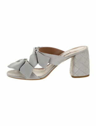 Tabitha Simmons Suede Bow Accents Slides w/ Tags Grey