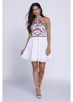 Nox Anabel Embroidered Halter Chiffon Short Dress