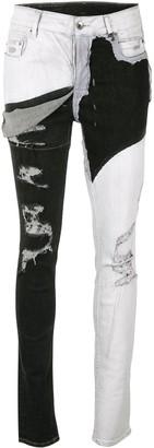 Rick Owens Bi-Colour Distressed Skinny Jeans