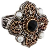 Konstantino Onyx and Pearl Cross Ring