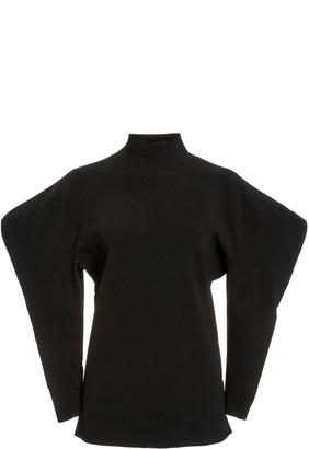 Proenza Schouler Puff-Sleeve Jacquard Turtleneck Sweater