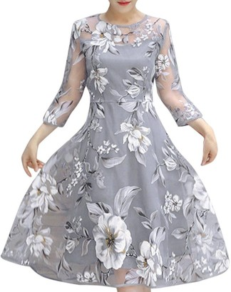 Maheegu New Women's Summer Organza Floral Print 3/4 Long Sleeve Wedding Party Cocktail Ball Prom Gown Midi Below Knee Dress (Gray XL)