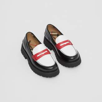 Burberry Childrens Tri-tone Leather Loafers