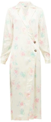 Ganni Floral-print Satin Wrap Dress - Ivory Multi