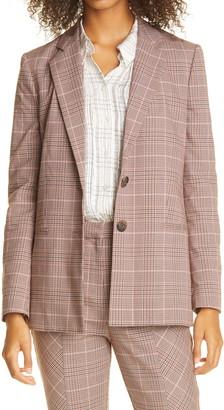 Rebecca Taylor Directional Plaid Crop Cotton Blend Trousers