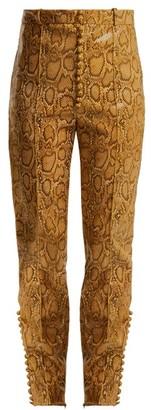 Hillier Bartley Faux Python Slim Leg Trousers - Womens - Beige Print