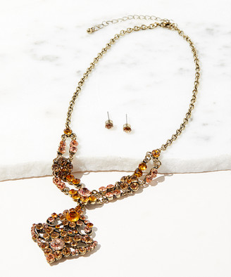 Felicia Jewelry Women's Earrings TOPAZ, - Orange Austrian Crystal & Goldtone Pendant Necklace & Earrings