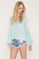Forever 21 FOREVER 21+ Lace-Paneled Crepe Top