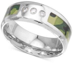 Macy's Men's Diamond Camouflage Band (1/10 ct. t.w.) in Stainless Steel