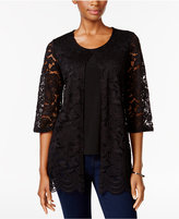 JM Collection Petite Lace Layered-Look Top, Only at Macy's