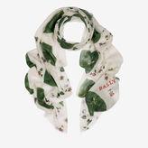Bally Autumn Leaf Modal Scarf White, Women's mix modal scarf in multi-white