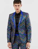 Asos Edition ASOS EDITION slim tuxedo jacket in multi coloured zig zag jacquard