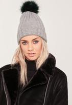 Missguided Contrast Faux Fur Pom Pom Beanie Hat Grey