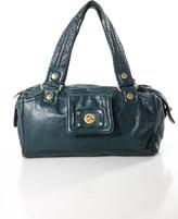Marc by Marc Jacobs Dark Teal Leather Gold Embellished Satchel Shoulder Handbag