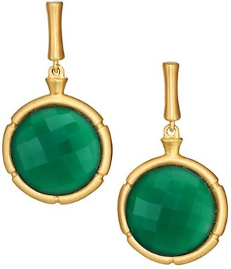 Dean Davidson 22K Yellow Goldplated & Green Onyx Bamboo Motif Drop Earrings
