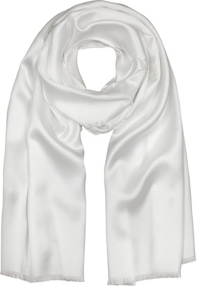 Forzieri Pure White Silk Men's Long Scarf