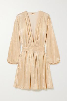 Melissa Odabash Banks Belted Lame Mini Dress - Gold