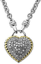 Lord & Taylor Diamond Heart Pendant in Sterling Silver with 14 Kt.Yellow Gold 0.25 ct. t.w.