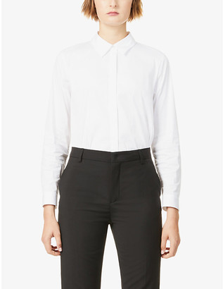 Theory Dropped-hem cotton-blend shirt