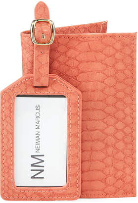Neiman Marcus Croc-Print Faux Leather Passport Cover & Luggage Tag Set