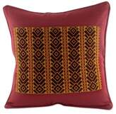 Maya Backstrap Woven Cotton Cushion Cover in Wine and Yellow, 'Solola Roads'