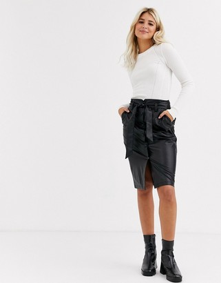 New Look midi leather look pencil skirt in black