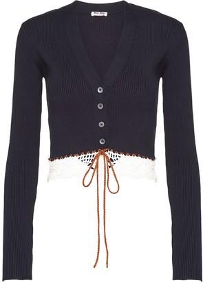 Miu Miu Rib-Knit Lace-Trimmed Cardigan