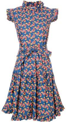 La DoubleJ Flared Chicken Print Dress