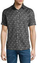 Etro Forest-Print Short-Sleeve Cotton Shirt, Black