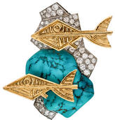 Georges Braque 18K Turquoise & Diamond Brooch