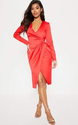 PrettyLittleThing Red Drape Pleated Detail Midi Dress