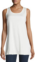Neiman Marcus Long Sleeveless Relaxed Tank, Off White