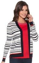 M&Co Stripe edge to edge cardigan