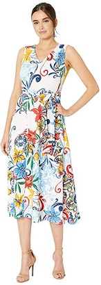 Tahari ASL Multicolor Pebble Crepe Side Tie Dress (Amalfi Tile Print) Women's Dress