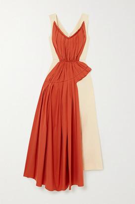 Marni Two-tone Pleated Cotton-poplin And Ramie-blend Midi Dress - Ecru