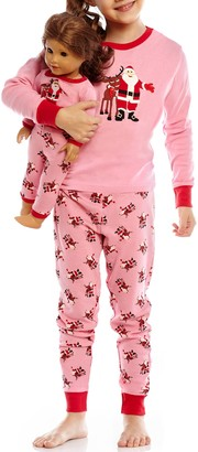 Leveret Christmas Pajama & Matching Doll Pajama Set (Toddler, Little Girls, & Big Girls)