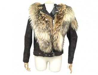 Balmain Brown Leather Coat for Women