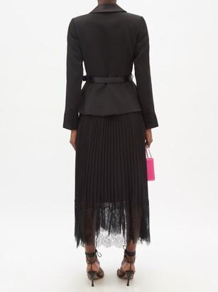 Self-Portrait Crepe And Pleated-chiffon Midi Dress - Black