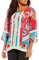 Multiples 3/4 Sleeve Mixed Print Uneven Hem Tunic