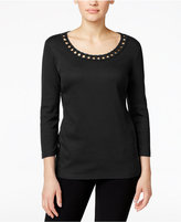 Karen Scott Cutout Scoop-Neck Top, Only at Macy's
