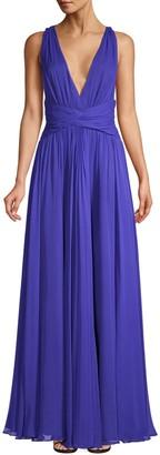 AMUR Cassandra Silk Deep-V Gown