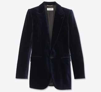 Saint Laurent Midnight Blue Velvet Women's Blazer