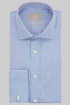 Savoy Taylors Guild Regular Fit Red and Blue Double Cuff Stripe Shirt
