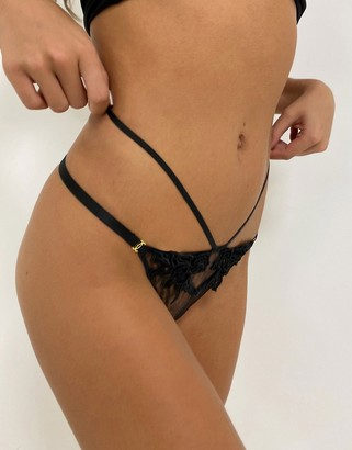 Ann Summers Sensual Siren velvet applique g-string in black