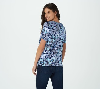 Quacker Factory Butterfly Print Short Sleeve Tie Front Top