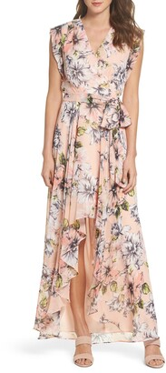 Brinker & Eliza Floral Ruffle High/Low Maxi Dress