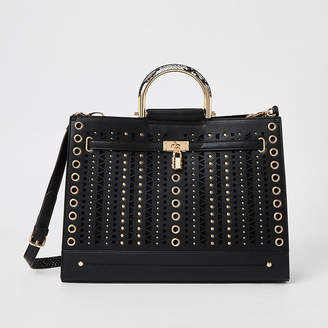 River Island Black studded cut out tote bag
