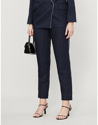 Zadig & Voltaire Porta embellished-trim pinstriped slim-fit woven trousers